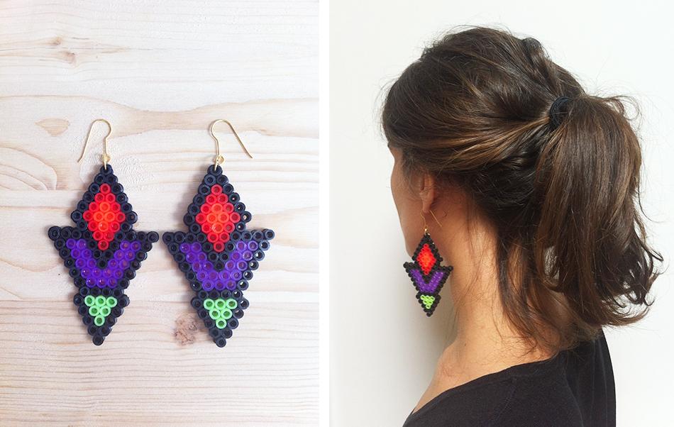 Invente tes bijoux en perles hama mod les hama - Boucle d oreille diy ...