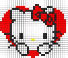 hello kitty amour saint valentin perles hama grille gratuite