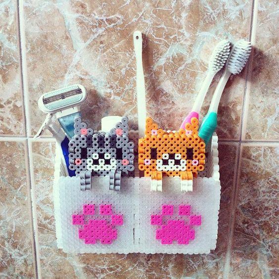 rangement-brosse-dent-cat-mignon-hama
