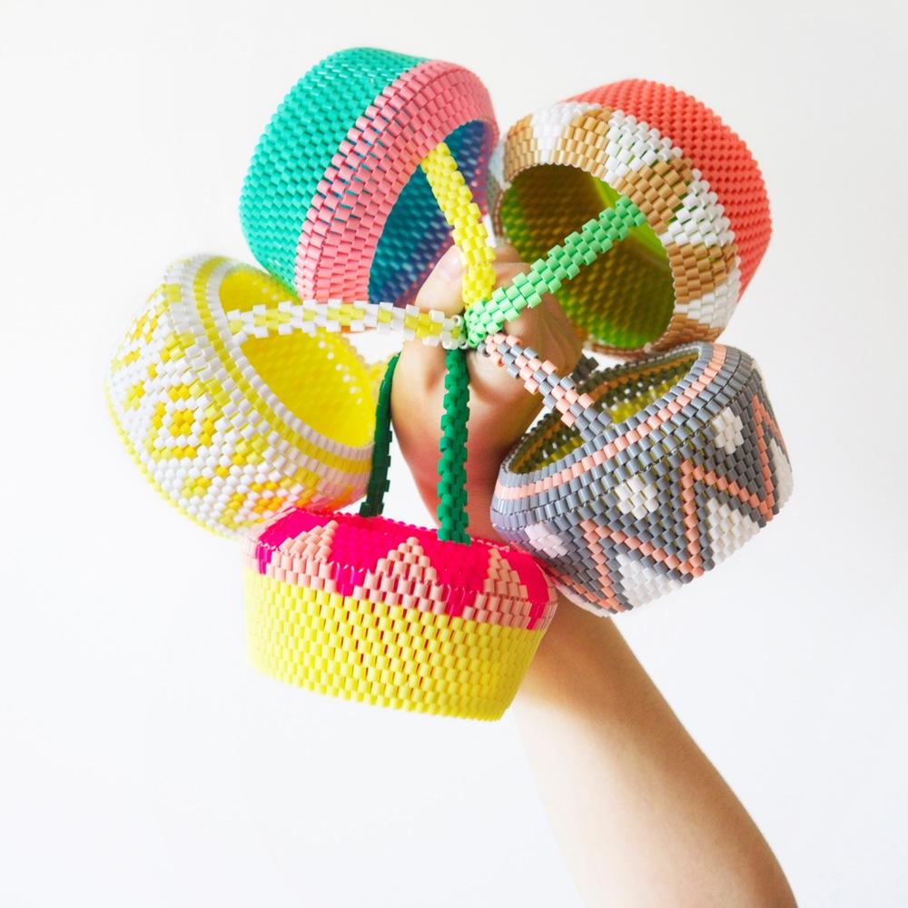 Inspiration : des paniers suédois à tisser en perles Hama